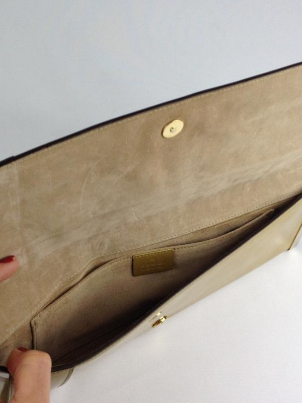GUCCI ROMY PATENT LEATHER CLUTCH