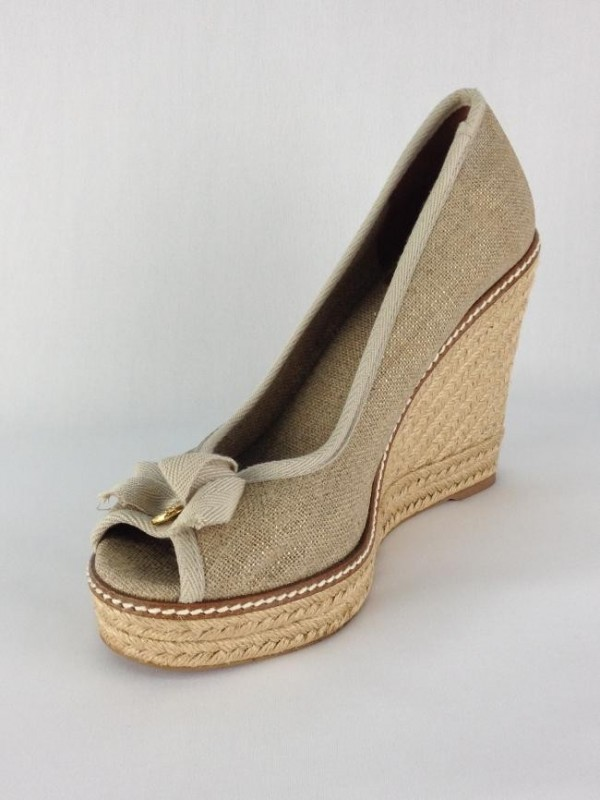 cda2ae9ed7a Peep Toe Anabela Tory Burch - Tory Burch - Feminino - Sapatos ...