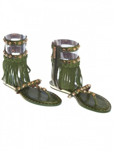 BARBADOS FRINGED LEATHER THONG SANDALS