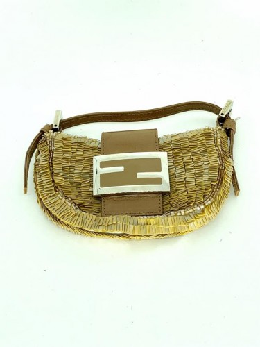 FENDI MINI BAGUETTE BEADED EVENING BAG